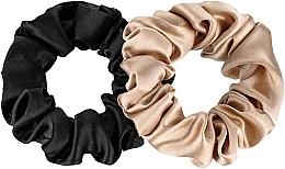 "Духи, Парфюмерия, косметика Набор резинок из натурального шелка ""Midi"" - Makeup Scrunchie Set Black Gold"