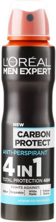 "Дезодорант-антиперспирант ""Карбоновая защита"" для мужчин - L'Oreal Paris Men Expert Carbon Protect Anti-Perspirant 4in1 Total Protection 48H"