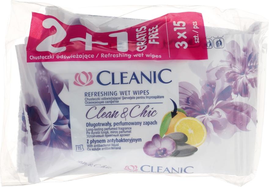 Набор освежающих салфеток - Cleanic Clean & Chic Wipes 2+1 (3x15 wipes)