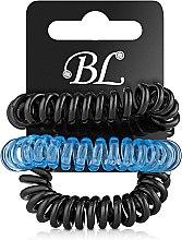 Духи, Парфюмерия, косметика Набор резинок для волос, 405004, прозрачно-синяя+черная+черная - Beauty Line