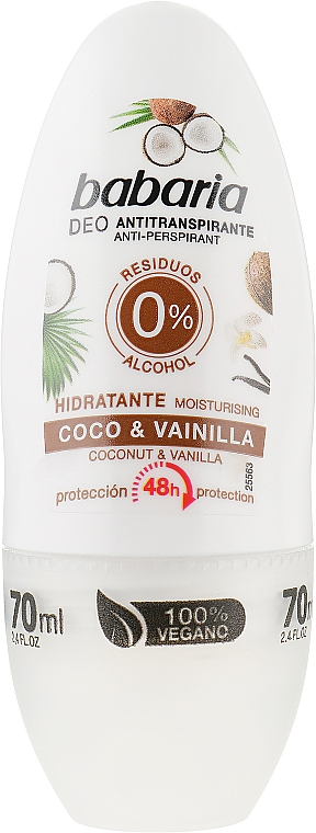 Роликовый дезодорант - Babaria Coco And Vanilla Hidratant Deodorant Roll-on