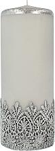 Духи, Парфюмерия, косметика Декоративная кружевная свеча, серая, 9x24 см - Artman Lace Christmas