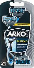 """Парфумерія, косметика Станок для гоління """"T3 System. Потрійне лезо"""", 3шт - Arko Men"""