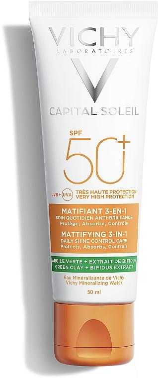 Солнцезащитный матирующий крем 3-в-1 для жирной, проблемной кожи, spf50+ - Vichy Capital Soleil Mattifying 3-in-1