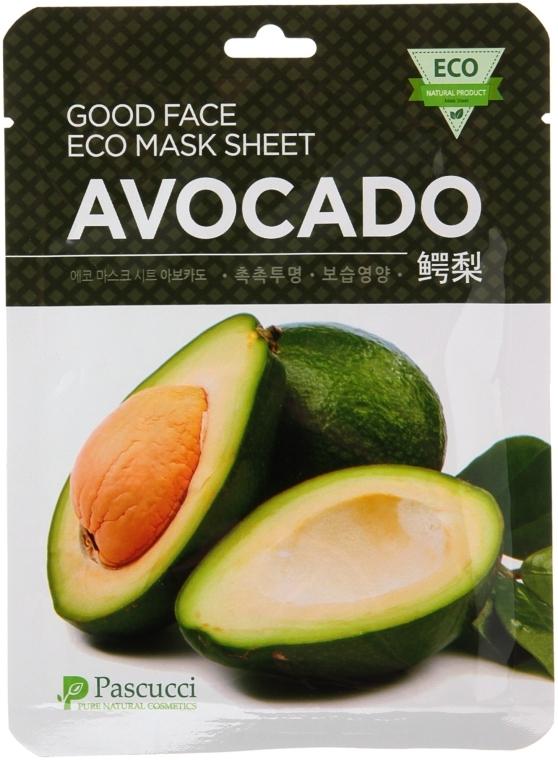 Маска для лица с экстрактом авокадо - Amicell Pascucci Good Face Eco Mask Sheet Avocado