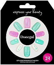 Духи, Парфюмерия, косметика Набор искусственных ногтей с клеем, 3055 - Donegal Express Your Beauty