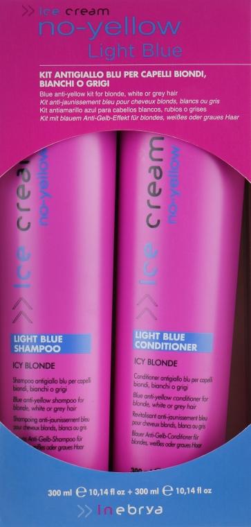 Набор для осветленных и седых волос - Inebrya No-Yellow Light Blue Set (shm/300ml + con/300ml) — фото N1