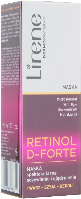 Маска для лица - Lirene Retinol D-Forte Nourishing and Firming Mask 50+