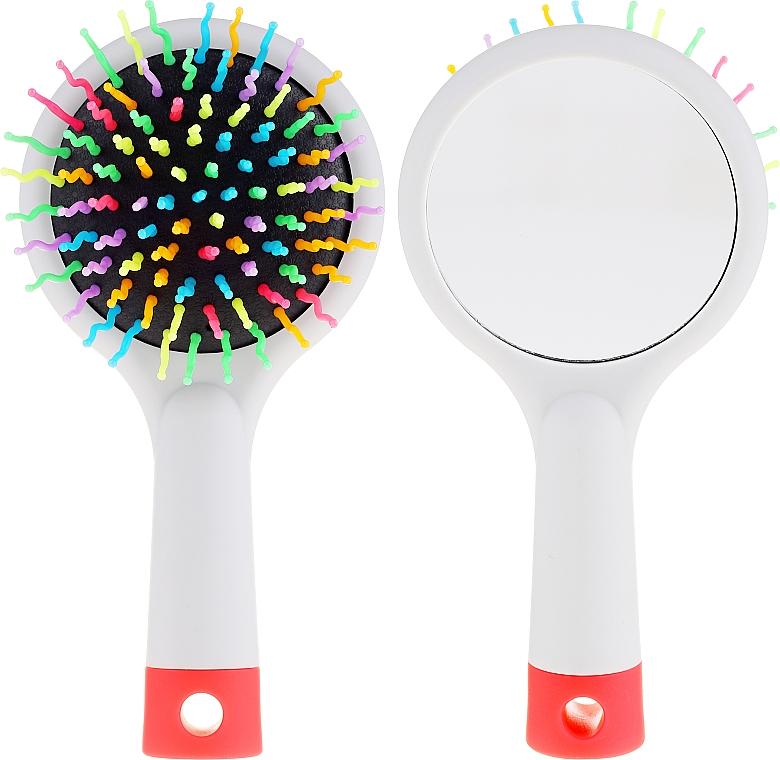 Щетка для волос с зеркальцем, серая - Twish Handy Hair Brush with Mirror Light Grey