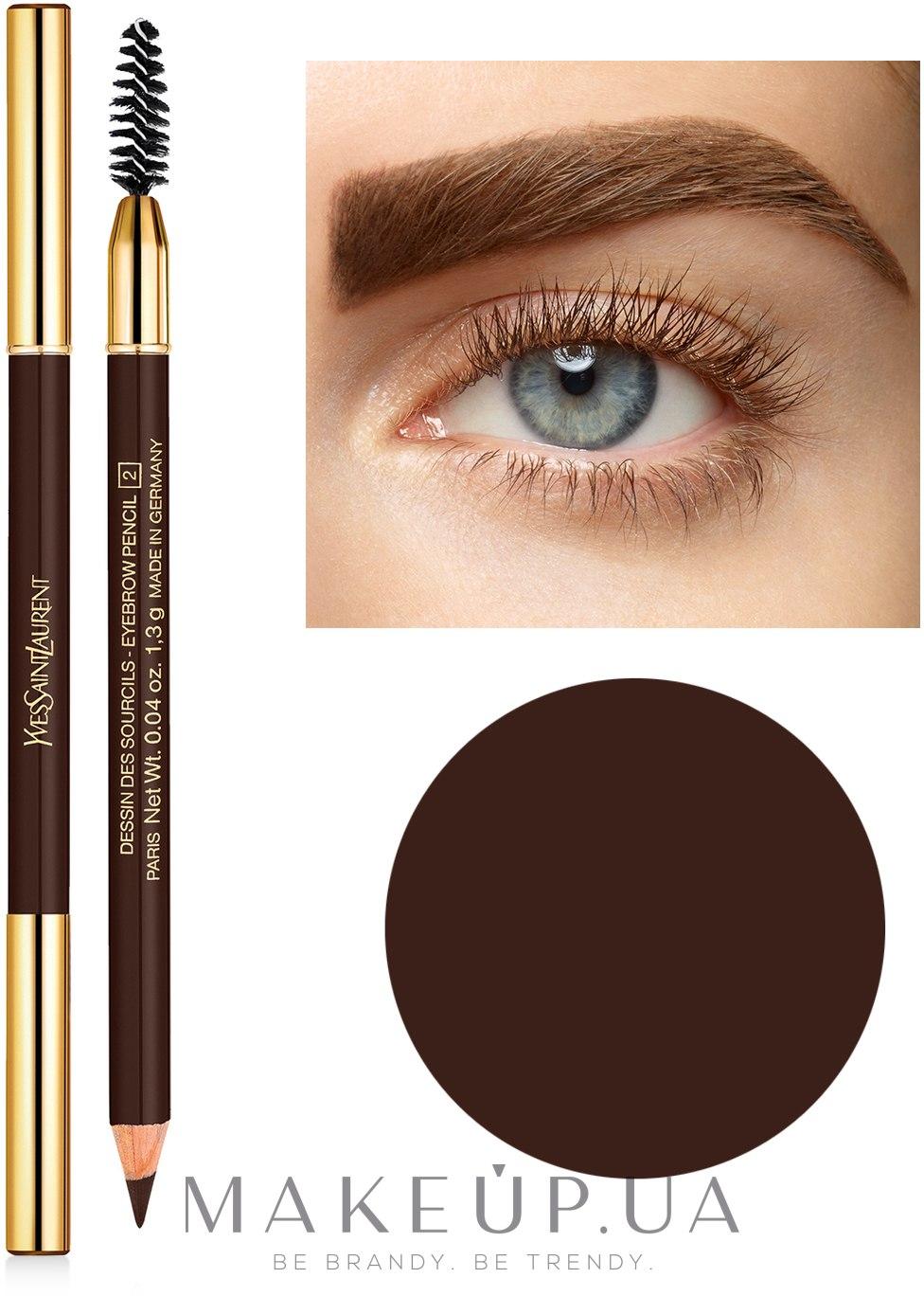 Карандаш для бровей - Yves Saint Laurent Dessin des Sourcils Eyebrow Pencil — фото 2-Dark Brown