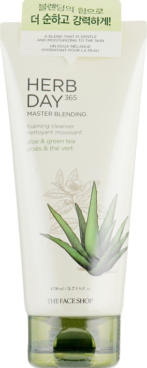 Пенка для умывания «Алоэ и зеленый чай» - The Face Shop Herb Day 365 Master Blending Foaming Cleanser Aloe & Green Tea