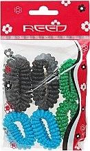 Духи, Парфюмерия, косметика УЦЕНКА Набор резинок для волос, 7579, 6шт, зеленый + голубой + черный - Reed *