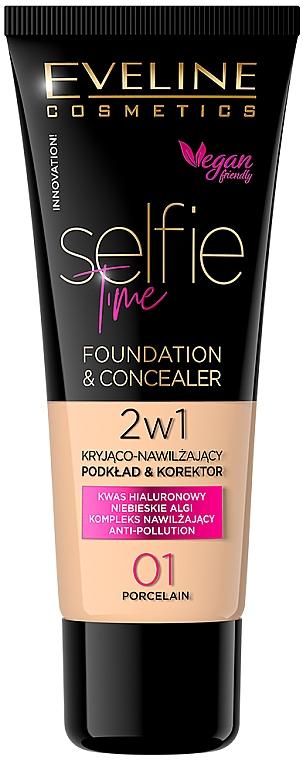Тональный крем-корректор - Eveline Cosmetics Selfie Time Foundation & Concealer