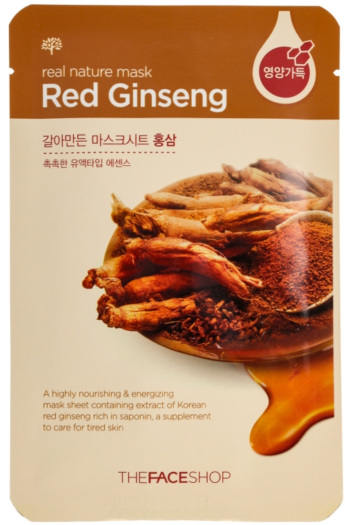 Маска-салфетка для лица с красным женьшенем - The Face Shop Real Nature Mask Red Ginseng