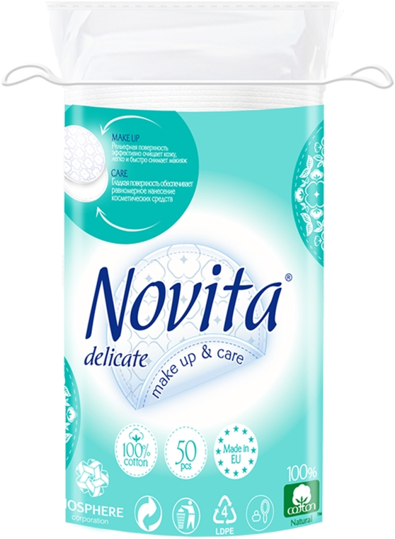 Диски ватные косметические, 50шт - Novita Delicate
