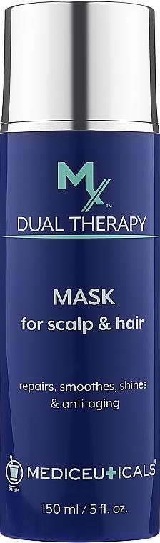 Восстанавливающая антивозрасная маска для волос и кожи головы - Mediceuticals MX Dual Therapy Mask For Scalp And Hair