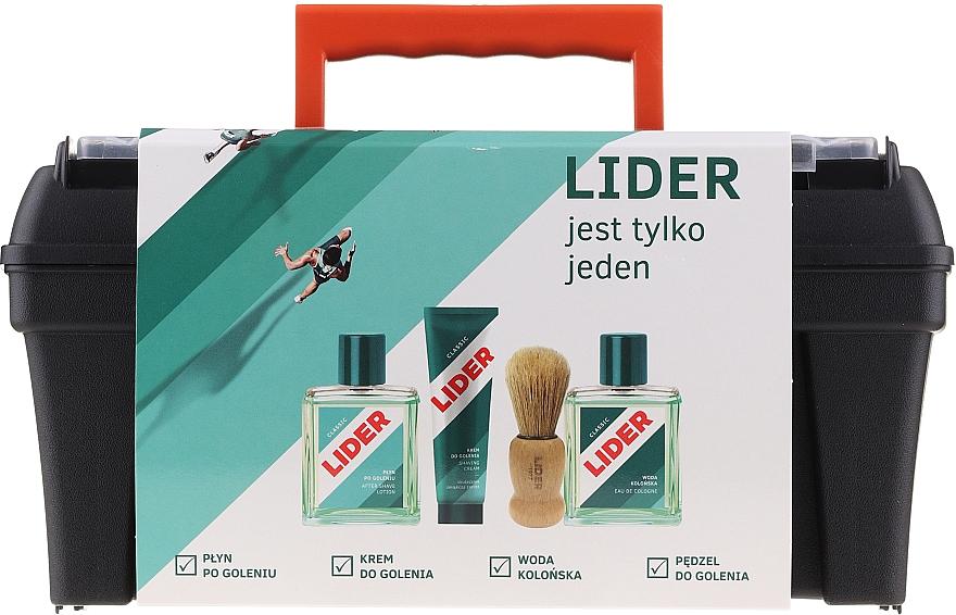 Набор - Lider Classic (ash/lot/100ml + shav/cr/65g + edc/100ml + shav/brush + case)