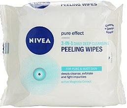 Духи, Парфюмерия, косметика Очищающие пилинговые салфетки 3 в 1 - Nivea Visage Pure Effect Peeling Wipes