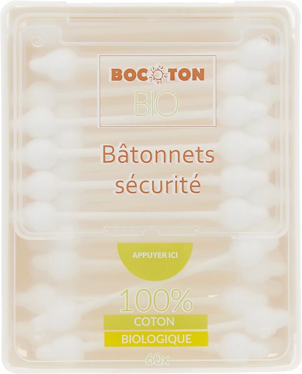 Органические ватные палочки детские с ограничителем, 60 шт. - Bocoton