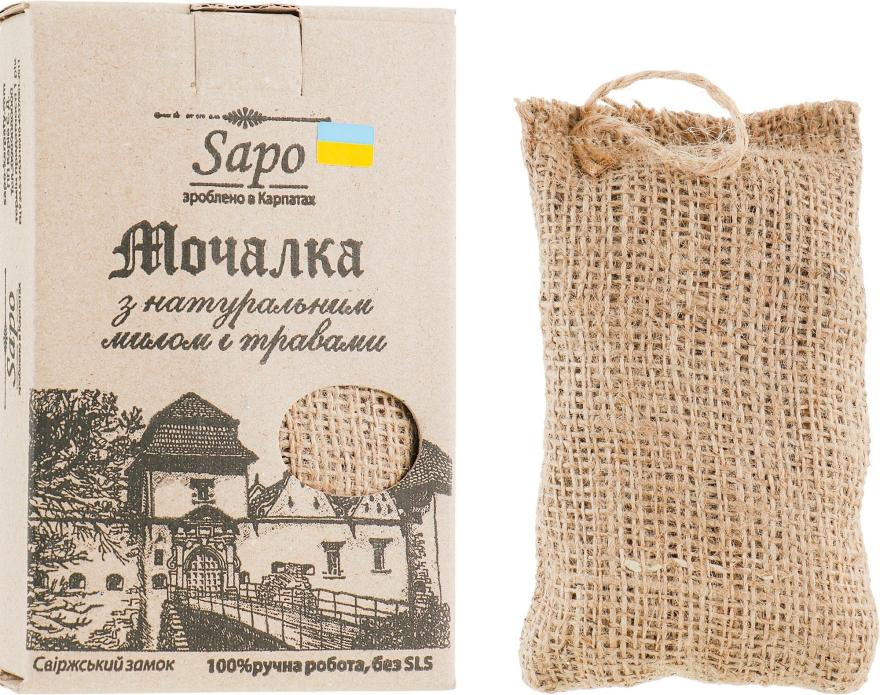 "Мочалка джутовая с натуральным мылом и травами ""Травы Карпат"" - Sapo"
