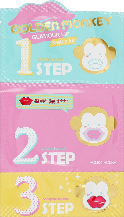Набор средств для ухода за губами - Holika Holika Golden Monkey Glamour Lip 3-Step Kit