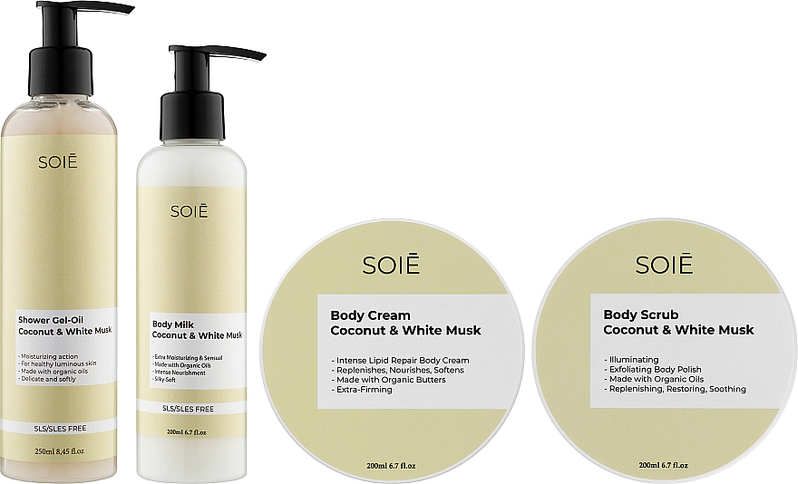 Набор - Soie Coconut & White Musk L (show/gel/250ml + b/scrub/200ml + b/cr/200ml + milk/200ml)
