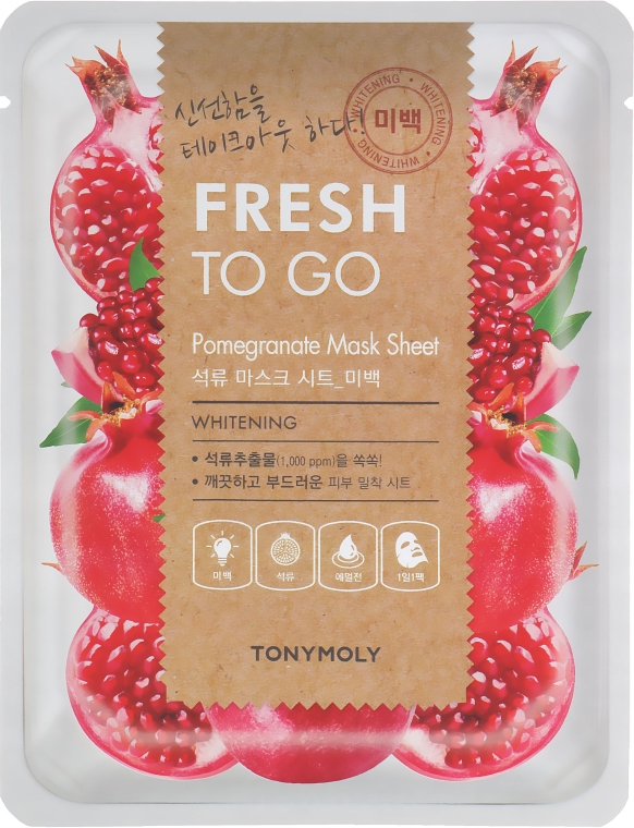 Тканевая маска с экстрактом граната - Tony Moly Fresh To Go Pomegranate Mask Sheet Whitening