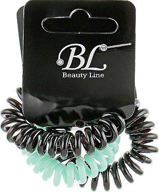 Набор резинок для волос, 405004, черная+мятная+черная - Beauty Line — фото N1