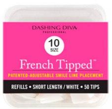 "Духи, Парфюмерия, косметика Типсы короткие ""Френч"" - Dashing Diva French Tipped Short White 50 Tips (Size -10)"