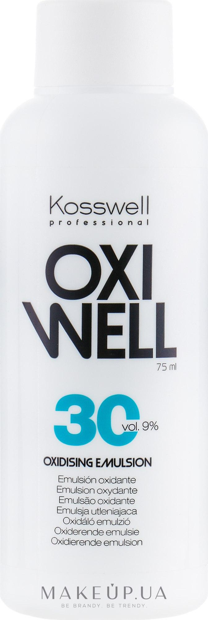 Окислительная эмульсия, 9% - Kosswell Professional Equium Oxidizing Emulsion Oxiwell 9% 30 vol — фото 75ml
