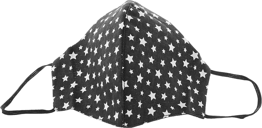 Маска тканевая-защитная для лица, черная с мелкими звездами, размер М - Gioia