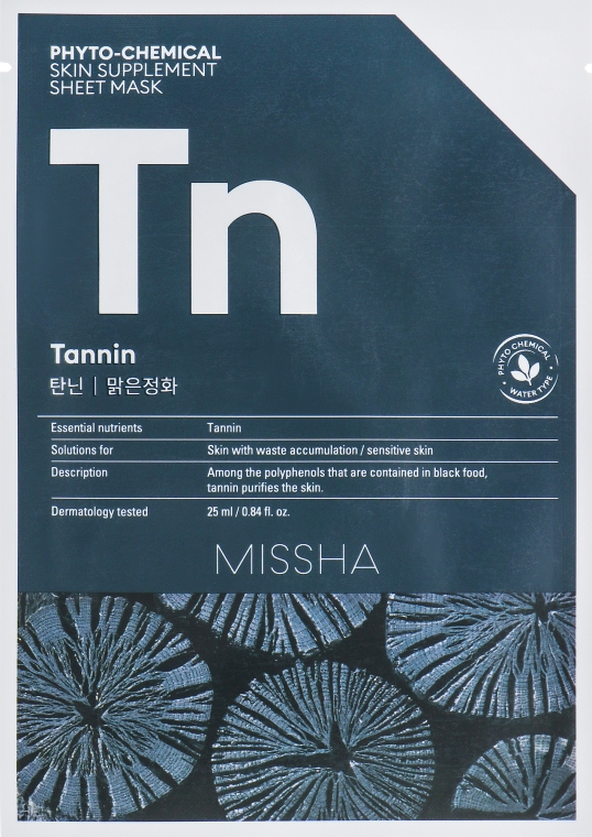 "Тканевая маска ""Очищающая"" - Missha Phytochemical Skin Supplement Sheet Mask Tannin/Purifying"