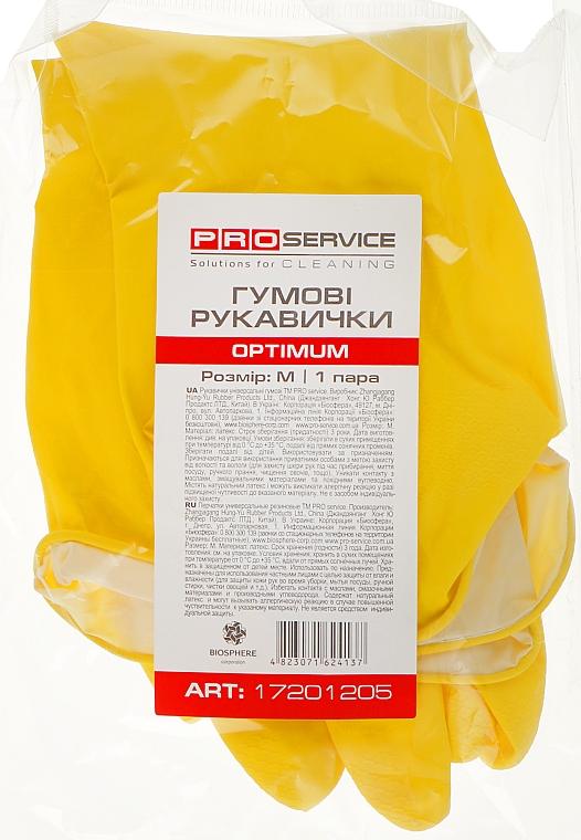 Перчатки латексные хозяйственные, размер M, желтые - PRO service Optimum