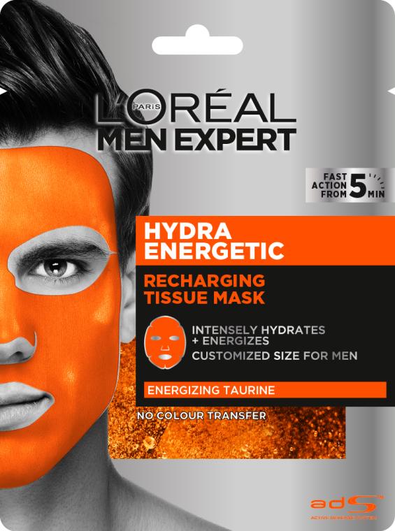Тканевая маска для кожи лица - L'Oreal Paris Men Expert Hydra Energetic