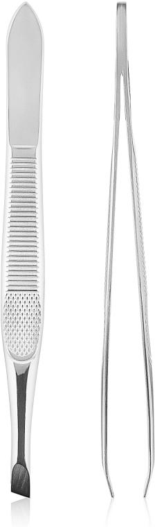 Пинцет для бровей скошеный, 499374, серебристый - Inter-Vion