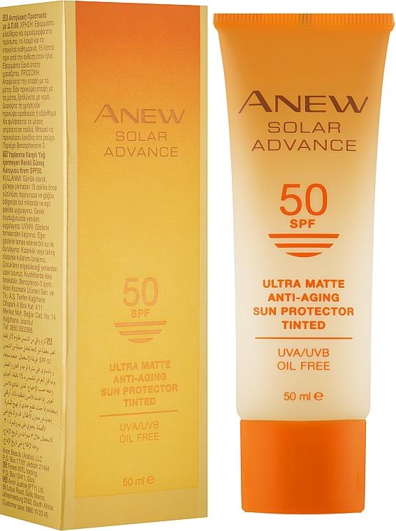 Матирующий солнцезащитный крем для лица с тональным эффектом SPF 50 - Avon Anew Solar Advance