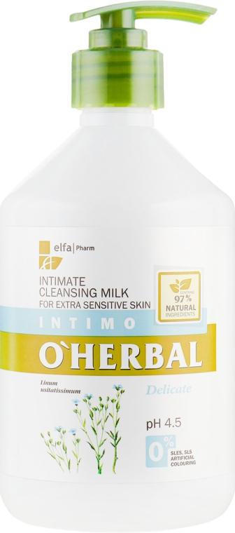 Моющее молочко для интимной гигиены для чувствительной кожи с экстрактом льна - O'Herbal