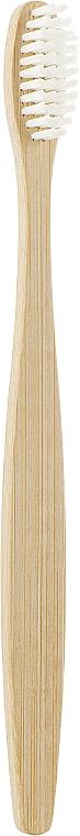 Бамбуковая зубная щетка с плоской ручкой, белая - Panda Bamboo Products