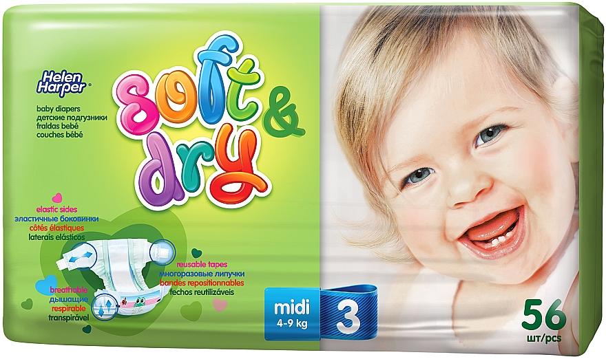 Детские подгузники Soft&Dry Midi (4-9 кг, 56 шт) - Helen Harper