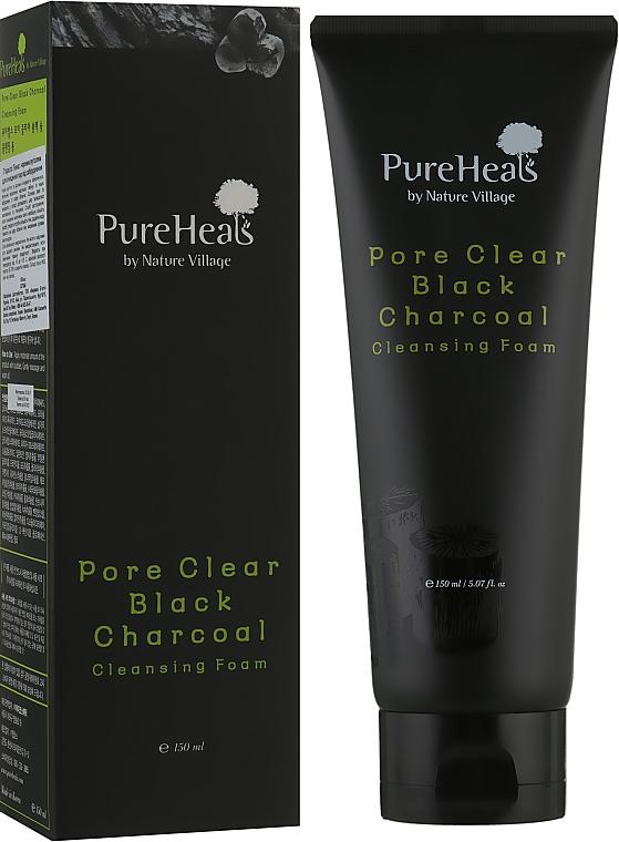 Пенка с черным углем для очищения пор от загрязнения - PureHeal's Pore Clear Black Charcoal Cleansing Foam