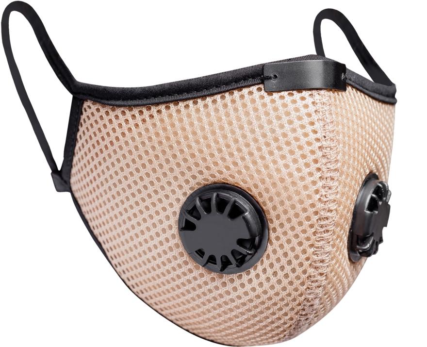 Многоразовая маска-респиратор с 2 клапанами и фиксатором, бежевый - XoKo