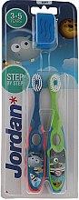 Духи, Парфюмерия, косметика Детская зубная щетка, 3-5 лет, зеленая+синяя - Jordan Step By Step Soft Clean