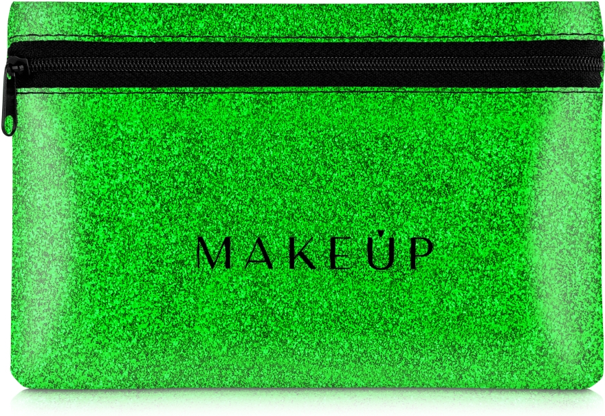 """Косметичка силиконовая, зеленая """"Glitter Pouch"""", 18х11см - Makeup"""