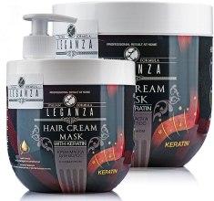 Духи, Парфюмерия, косметика Крем-маска для волос с кератином - Leganza Cream Hair Mask With Keratin (с дозатором)