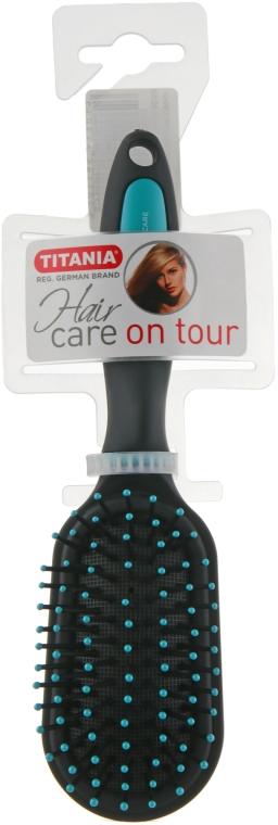Массажная овальная мини щетка для волос, бирюзовая - Titania Softtouch