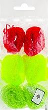 Духи, Парфюмерия, косметика Набор резинок для волос, 7580, 6 шт., красный + неоново-желтый + салатовый - Reed