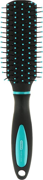 Міні-щітка для волосся прямокутної форми 18 см, синя - Titania Softtouch — фото N1