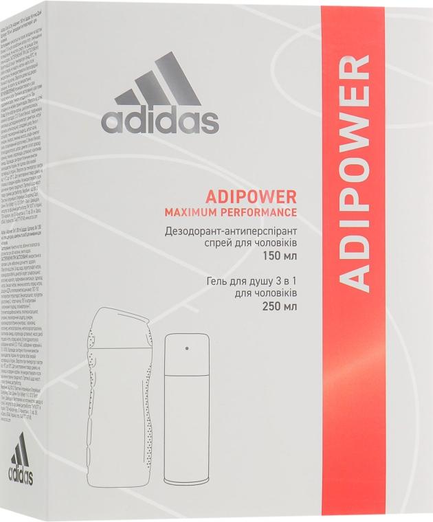 Набор - Adidas Adipower Men (deo/spray/150ml + sh/gel/250ml)