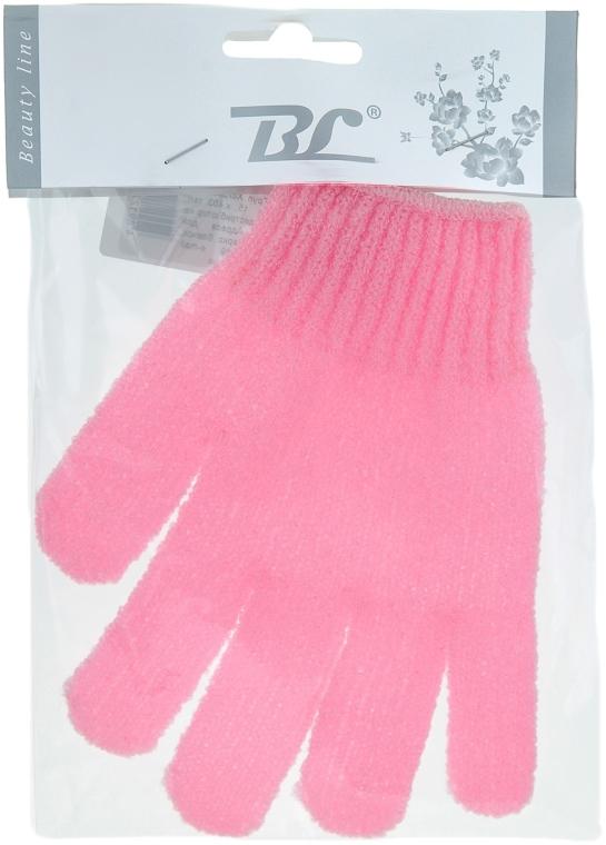 Мочалка-перчатка банная, розовая - Beauty Line