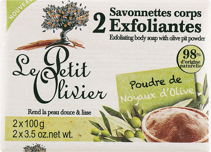 Отшелушивающее мыло для тела с пудрой оливковой косточки - Le Petit Olivier 2 Exfoliating body soap with Olive pit powder